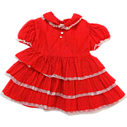Girls 1T Vintage 1950s Red Swing Dress Ruffles Heart Fish Mother of Pearl Buttons Mint