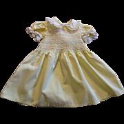 Vintage 1950s Yellow Smocked Girls Toddler Dress