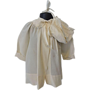 Antique Silk Baby Coat Bonnet Early Century Ivory Set Toddler Large Doll