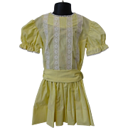 Vintage 1950s Yellow Cotton Girls Dress Spring Easter White Lace Trim