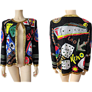 Viva Las Vegas Gambling Jacket Vintage 1980s Black Silk Beaded Novelty New With Tags