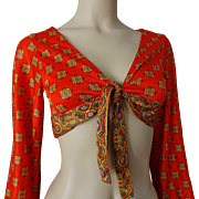 Bohemian Cropped Top Vintage 1970s Orange Gypsy Boho Tie Front Blouse