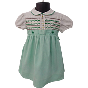 Vintage 1950s Smocked Girls Toddler Dress Large Doll Green White
