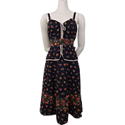 Boho Peasant Dress Vintage 1970s Black Cotton Floral Peplum Sundress