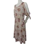 Cold Shoulder Sheer Floral Dress Vintage 1970s Boho Bohemian Hippie