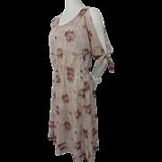 Cold Shoulder Sheer Floral Dress Vintage 1970s Boho Bohemian Hippie