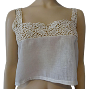 Antique Edwardian Camisole Crocheted Lace Half Shirt Blouse
