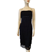 Vintage Black Flapper Dress 1940s Top To Bottom Fringe Bow Spaghetti Straps