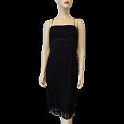 Vintage Black Flapper Dress 1940s Top To Bottom Fringe Bow Spaghetti Straps
