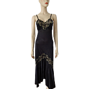 Black Negligee Nightgown Vintage 1960s Lingerie Maxi Nylon Gold Metallic Lace Lady Cameo of Dallas