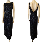 Emma Domb Evening Gown Dress Vintage 1960s Black Maxi Low Back Sequins Designer Special Occasion