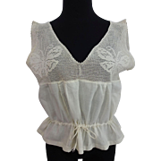 HOLD For Carly: Antique Filet Lace Blouse Butterfly Moth Cotton Drawstring