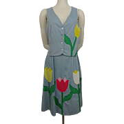Appliqued Tulips Skirt Vest Vintage 1970s Womens Suit Spring Flowers