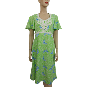 Lilly Pulitzer Dress Vintage 1970s Floral Butterfly Crocheted Lace Fit and Flare