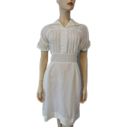 Vintage 1950s White Sheer Crepe Wiggle Dress