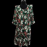 Hawaiian Floral Dress Vintage 1970s Hilo Hattie Hibiscus Ruffles