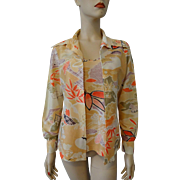 Blouse Shirt Camisole Tank Top Set Vintage 1970s Twin Set Asian Print Jean Castle Pointed Collar