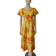 Hilo Hattie Hawaiian Dress Vintage 1970s Orange Yellow Cotton Summer Sundress
