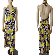 Floral Sun Dress Halter Maxi Vintage 1970s Womens Summer Fashions