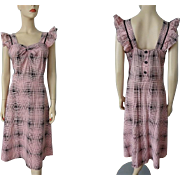 Vintage 1950s Dress Pink Black Cotton Sundress