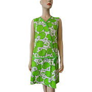 Apple Green Scooter Dress Vintage 1960s Print Skort Shorts Summer Sleeveless Romper