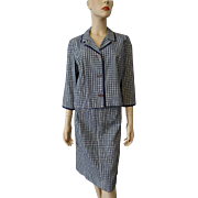 Vintage 1940s Seersucker Plaid Suit Womens Jacket Skirt Sharmon Navy White