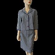 Vintage 1940s Seersucker Plaid Suit Womens Jacket Skirt Sharmon Navy White