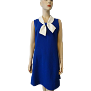 HOLD For Carly: Sailor Dress Vintage 1970s Royal Blue White Double Knit Polyester Nautical Sleeveless