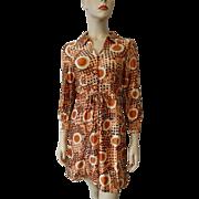 Mod Mini Dress Vintage 1960s Rayon Graphic Print Polka Dots