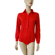 Red Leotard Bodysuit Vintage 1970s Elastic Dance Costume Polyester Stretch Blouse