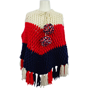 Crocheted Poncho Shawl Vintage 1970s Red White Blue Patriotic Fashion