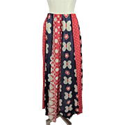 Vintage Maxi Skirt 1970s Red White Blue Hippie Daisy Butterfly Polka Dots Larger Size
