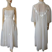 Wedding Lingerie Peignoir Set Vintage 1940s Gotham Nightgown Negligee Robe White Nylon Bridal