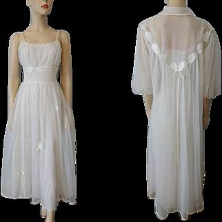 Wedding Lingerie Peignoir Set Vintage 1940s Gotham Nightgown Negligee Robe White Nylon Bridal
