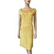 Bombshell Wiggle Dress Vintage 1960s Passementerie Yellow Soutache Ribbon Lace Beaded Cocktail Evening Wear