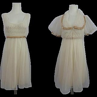 Movie Star Lingerie Peignoir Set Vintage 1970s Nightgown Negligee Robe