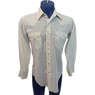 Mens Western Pearl Snap Shirt Vintage 1970s Rockabilly Cowboy White Plaid Poly Cotton