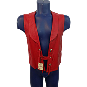 Rockabilly Western Red Leather Vest Vintage 1970s Jo-O-Kay NWT Concho Fringe Unisex