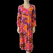 Bohemian Maxi Dress Vintage 1970s Asian Print Hippie Gypsy Bold Colors