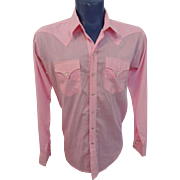 Pink Mens Pearl Snap Shirt Vintage 1970s Rockabilly Western Rockmount Ranch Wear