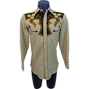 Rockabilly Western Mens Shirt Vintage 1970s H Bar C Ornate Embroidered Rhinestone Studded California Ranchwear El Dorado Collection