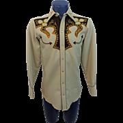 Rockabilly Western Mens Shirt Vintage 1970s H Bar C Ornate Embroidered Rhinestone Studded California Ranchwear El Dorado Collection