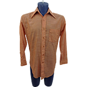 Mens Orange Shirt LS Vintage 1970s Pointed Collar Retro Button Down Permanent Press