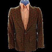 Mens Velvet Jacket Blazer Vintage 1970s Groovy Diamond Print Green Orange Retro