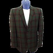 Mens Plaid Jacket Blazer Vintage 1950s Green Brown Black Sport Coat