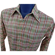 Mens Plaid LS Shirt Vintage 1970s Pointed Collar Permanent Press Medium
