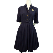 Vintage 1950s Navy Blue Cotton Swing Day Dress Plated Skirt Norman Wiatt California