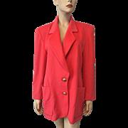 Escada Coral Jacket Blazer Vintage 1980s Oversized Margaretha Ley Cashmere Angora