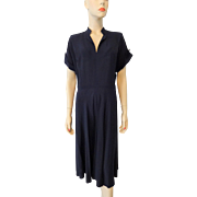 Navy Blue Vintage 1940s Dress Rayon Crepe Larger Size