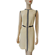 Sleeveless Knit Shift Dress Vintage 1970s Beige Black Patent Belt